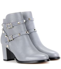 Valentino Rockstud leather ankle boots Light Blue                $229.00