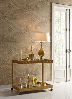 """Candice Olson pattern """"Onyx"""" from the Modern Nature collection geode gemstone wood grain gold burnished metallic brass #yorkwallcoverings"""