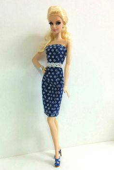 Barbie Dress - Navy Blue Dress (for Model Muse Barbies)