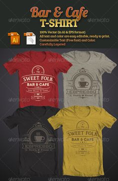 Bar & Cafe T-Shirt Template Vector EPS, AI. Download here: http://graphicriver.net/item/bar-cafe-tshirt/5166361?ref=ksioks