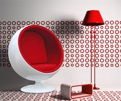 Eero Aarnio Style Ball Chair Red Interior