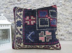 18x18 decorative rug pillow handmade rug pillow bohemian pillow 18x18 throw pillow organic pillow natural pillow turkish rug pillow