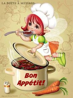 Illustration ~ By Olga & Alexey Drozdov Chef Pictures, Cute Images, Kitchen Art, Cute Illustration, Recipe Cards, Fabric Painting, Food Art, Cute Art, Illustrators