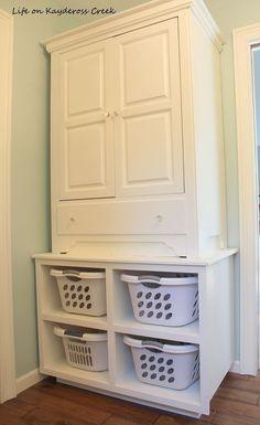 DIY Master Bedroom Closet Makeover on a Budget - Apartment Decoration Laundry Room Storage, Bedroom Storage, Laundry Rooms, Closet Storage, Laundry Baskets, Laundry Basket Dresser, Cabinet Closet, Laundry Closet, Linen Storage