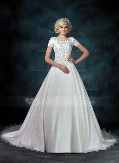 Ball-Gown Square Neckline Cathedral Train Organza Satin Wedding Dress With Embroidered Beading Sequins (002000540)
