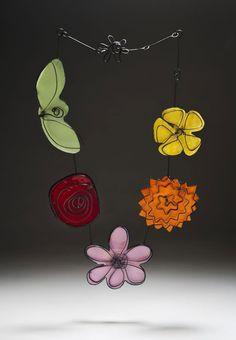 "Brenda Bregman ""Spring Has Sprung"" Necklace Copper, steel, enamel Enameled, fabricated 33"" X 3 1/2"" Honorable Mention - Washington guild of goldsmiths   MetalWork 2012"