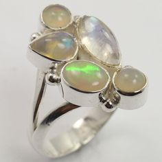 Genuine RAINBOW MOONSTONE & OPAL Gemstone 925 Sterling Silver Ring Size US 7.25 #SunriseJewellers #Fashion
