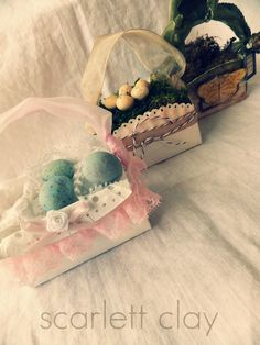 Scarlett Clay made these pretty baskets from paper plates. Embellishing genius!