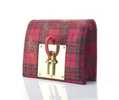 "Nina Valero ""On The Town""- Red Tartan Print Calf Hair Leather Clutch/Crossbody Bag with Metal Details"