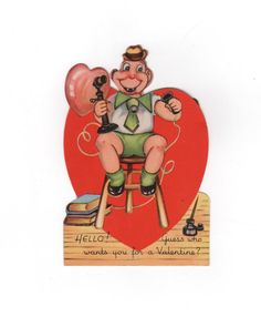 Vintage 1930s Valentine card. Boy on Telephone calling for a