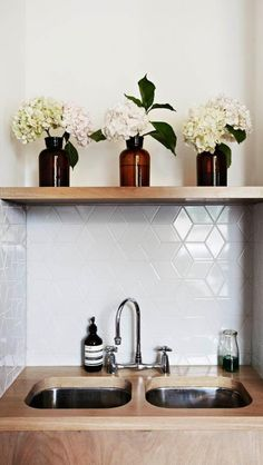 I like that tile! A cute addition to a utility room.
