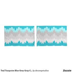 Teal Turquoise Blue Grey Gray Chevron Ombre Fade Pillowcase