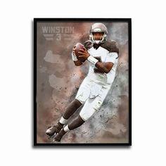 Tampa Bay Buccaneers Jameis Winston Watercolor 24x18 Football Poster