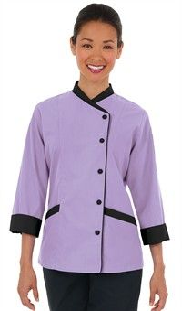 Women's Contrast Trim 3/4 Sleeve Chef Coat - Snap Front Closure - 65/35 Poly/Cotton Fine Line Twill