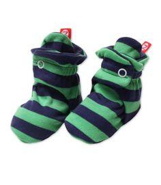 Navy & Apple Stripe Baby Booties