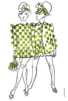 Anna Granat Fashion Illustration, Louis Vuitton Spring 2013; #fashion #illustration #fashionillustration #aquarelle #ink #art #annagranat #louisvuitton