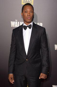 "Corey Hawkins looked chic in his black #Versace jacquard suit at the premiere of ""The Walking Dead"" in New York. #VersaceCelebrities"