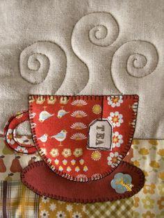 Great for tea towels, mini quilts, etc! Mug Rug Patterns, Applique Patterns, Applique Quilts, Embroidery Applique, Quilt Patterns, Bird Applique, Simple Embroidery, Mini Quilts, Small Quilts