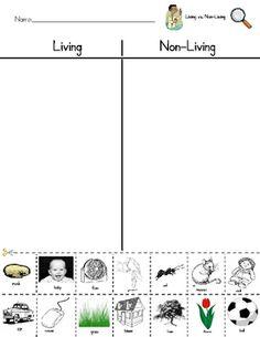Living vs. Nonliving Sort Worksheet