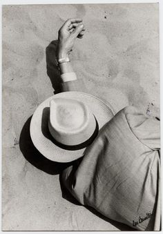 mpdrolet:  Man in Suit, Panama Hat, Sleeping on Beach, 1957 Lou Bernstein