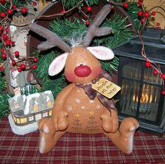 Primitive Christmas Reindeer Shelf Sitter Doll pattern 58