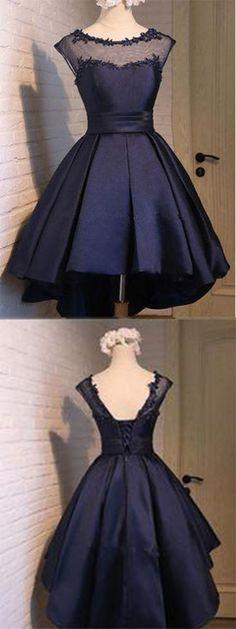Classy Prom Dresses,Navy Blue Homecoming Dress,Satin Homecoming Dress,Sexy Party Dress,Charming Homecoming Dress,Graduation Dress