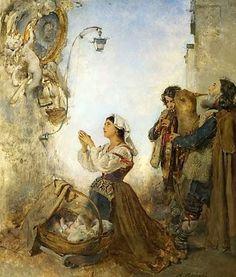 Tocando ante un cuadro de la Virgen María. Anton Romako (1832-1889). Detalle, gaita y flauta. Instrumentos populares.