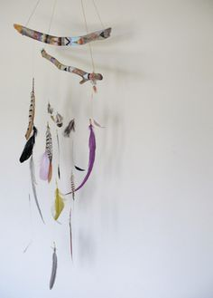 Creative : Eleven Rad Crafty Ideas for Kids  Feather Mobile? I think so! at thoughtful day
