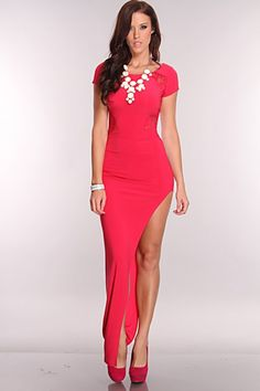 Fuchsia Floral Lace Detail Super Sexy Maxi Dress. You will look drop dead gorgeous in this super sexy maxi dress! . really like this and must have this clubbing dress
