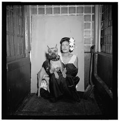 """""""Portrait of Billie Holiday and Mister,"""" Downbeat, New York, N.Y., 1947."""