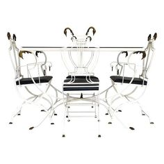 Image of Wrought Iron Dining Set with Brass Swan Heads