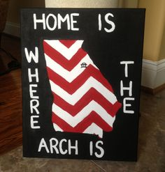 UGA Arch Painting from Etsy. I can make this myself and with cleaner lines. Georgia Bulldogs Football, Sick, Georgia Girls, University Of Georgia, Down South, Southern Charm, Decoration, Arts And Crafts, Artsy