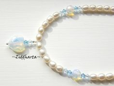 Opalite and Swarovski Necklace Facetted HEART - Handmade beaded Jewelry and Beading by Ziddharta by Ziddharta on Etsy