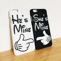 Full Wrap He's Mine She's Mine Couple Cases for iPhone 6,iPhone 6 plus,iPhone 6s,iPhone 6s plus,,iPhone 5s SE,iPhone 5c,iPhone 4s ,Samsung Galaxy S3/S4/S5/S6/S7Hard Phone Case