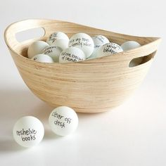 "I love this idea from Better Homes and Gardens:  Organize a cleaning game with your husband. Get a bunch of pingpong balls, write tasks on them like ""vacuum the living room"" and ""clean out hall closet."" Whoever accomplishes the most amount of tasks by the end of a set amount of time gets a prize (think foot rub, massage, being cooked for or catered to with whatever)"