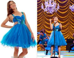 Vocal Adrenaline sport a crazy sequined dress in their signature blue for Nationals, teamed with a simple up-do. Unique Vintage Blue Tulle & Sequins Short Empire Waist Dress - $118.00