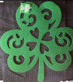 "BACK IN STOCK  NOW ON SALE  Felt Shamrock 16.5""x16"" St.Patricks Decor TableScape Placemats Wreaths DecoMesh"