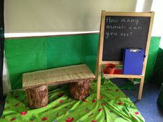 Love the log bench! Role Play Areas, Classroom Displays, Dramatic Play, Woodland, Toddler Bed, Bench, Life, Child Bed, Classroom Decor