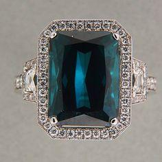 7.53ct Green Blue Genuine Tourmaline Emerald Cut Halo 18k Gold Diamond Ring
