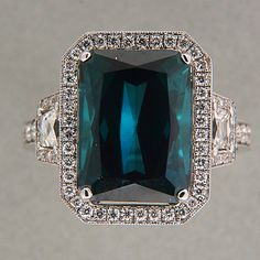 7.53ct Green Blue Genuine Tourmaline Emerald Cut Halo 18k Gold Diamond Ring