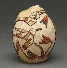 Incised Pottery Vase by Loren Hamilton (Hopi)