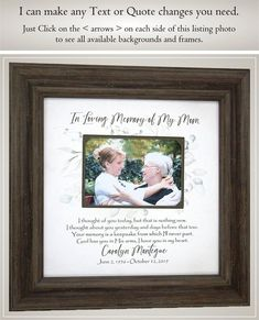 Memorial In Memory Of Mom Dad Remembrance Gift, Personalized Farmhouse Signs Home Decor Rustic Picture Frame for Wedding Memorial Photo, View all Wedding Gifts for Mom and Dad www.etsy.com/shop/PhotoFrameOriginals?section_id=11561185 I am a Professional Picture Framer and Designer. You can count on Thank You Gift For Parents, Wedding Thank You Gifts, Wedding Gifts For Groom, Gifts For Mom, Rustic Picture Frames, Wedding Picture Frames, Mother Of The Groom Gifts, Mother And Father, Remembrance Gifts