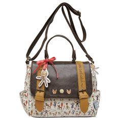 Once Upon A Time Gingerbread Man Satchel This adorable satchel features the fairytale story of the Gingerbread Man, created by Disaster Designs. Part of the Once Upon A Time Range, the bag features characters from the G Mens Satchel, Brown Satchel, Satchel Purse, Satchel Handbags, Once Upon A Time, Mochila Hippie, Disaster Designs, White Purses, Cute Bags