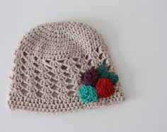 Crochet Baby Beanie Hat with Rose Buds Baby Girl Hat Kids Beanie Child Beanie Childrens Hat