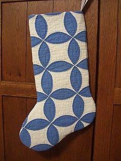 Stocking from 1900 20s Quilt Tea Leaf Pattern Lovely Williamsburg Blue White | eBay