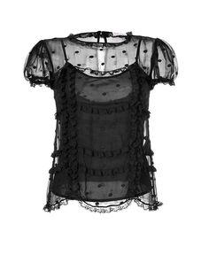 3a5b9a8c1a VALENTINO R.E.D. Silk Dot Embroidered Top   705 Black Silk Shirt