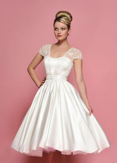 Retro style short satin wedding dress with lace cap sleeves. This dress is made to order and turn around time is around weeks. If you need rush service, please contact us prior to placing your ord Short Lace Wedding Dress, Tea Length Wedding Dress, Tea Length Dresses, Short Dresses, 50s Style Wedding Dress, 50s Wedding, Bridal Gowns, Wedding Gowns, Wedding Tips