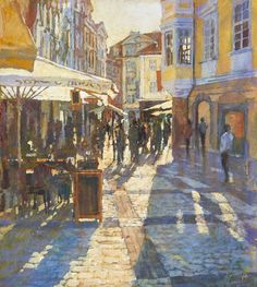 'Light and Shade, The Old Town Square, Prague' Original, Acrylic on Board, Framed £1750.00