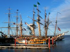 Tall Ships docked in the Port Angeles, WA Harbor ~ Best Towns 2015 Old Sailing Ships, Port Angeles, Ghost Ship, The Masterpiece, Beautiful Ocean, Sail Away, Model Ships, Tall Ships, Pacific Ocean
