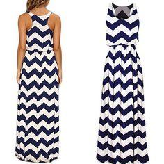 Cheap Cintura elástico de onda patrones mujeres sin mangas vestido de tirantes…